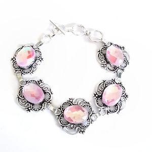 Pink mystic topaz sterling silver bracelet